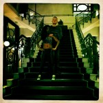 Cheery and White Boy looking regal on the hotel stairs. Montreux (Switzerland)
